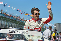 March 25, 2018: Charles Leclerc (MCO) #16 from the Alfa Romeo Sauber F1 Team waves to the crowd during the drivers' parade at the 2018 Australian Formula One Grand Prix at Albert Park, Melbourne, Australia. Photo Sydney Low