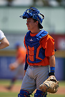 St. Lucie Mets catcher Jake Ortega (32) during a Florida State League game against the Bradenton Marauders on July 28, 2019 at LECOM Park in Bradenton, Florida.  Bradenton defeated St. Lucie 7-3.  (Mike Janes/Four Seam Images)