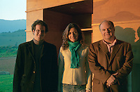 Francois Walewski, VP International Sales, Ana Maria Cumsille U., winemaker, Juan P Solis de Ovanido Lavin, Managing Director. Bodega Altair, Region del Maule, Chile