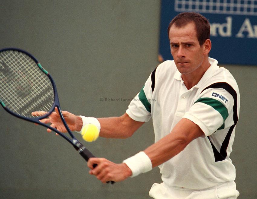 Photo. Steve Holland.Australian Open at Melbourne. 1991..Guy Forget