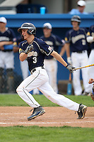 April 15,2010:  Second Baseman Mike Hackett (3) of the Genesee Community College (GCC) Cougars Men's Baseball Team at bat vs. Alfred State at Dwyer Stadium in Batavia, NY.  Photo Copyright Mike Janes Photography 2010