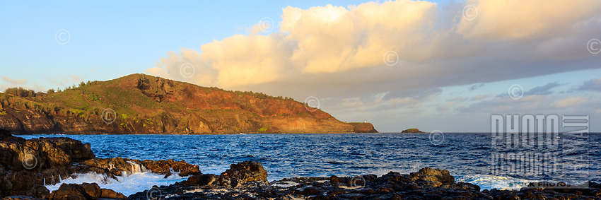 Kilauea Point and Crater Hill as seen from across the ocean at Mokolea Point, Kaua'i.