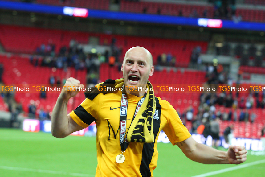 Adam Barrett of Southend United celebrates his team winning the play off final on penalties - Southend United vs Wycombe Wanderers - Sky Bet League Two Play Off final action at the Wembley Stadium on 23/05/15 - MANDATORY CREDIT: Dave Simpson/TGSPHOTO - Self billing applies where appropriate - 0845 094 6026 - contact@tgsphoto.co.uk - NO UNPAID USE
