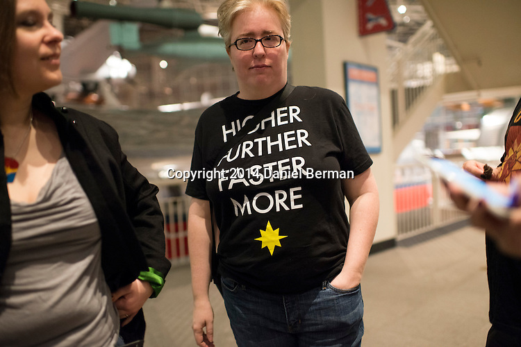 Janice Collier of Santa Monica, CA wore a shirt bearing Captain Marvel's mantra as fans of the series hang out during the Carol Corps Celebration Thursday March 27, 2014 at the Museum of Flight in Seattle. Held the day before Emerald City Comicon kicked off, the event raised funds for Girls Leadership Institute and offered a chance for fans to meet and chat with Captain Marvel writer Kelly Sue DeConnick and Ms. Marvel writer G. Willow Wilson. Photo by Daniel Berman for WIRED.com