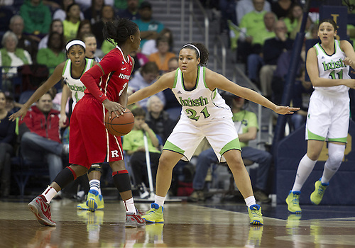 January 13, 2013:  Rutgers guard Erica Wheeler (3) looks to pass the ball as Notre Dame guard Kayla McBride (21) defends during NCAA Basketball game action between the Notre Dame Fighting Irish and the Rutgers Scarlett Knights at Purcell Pavilion at the Joyce Center in South Bend, Indiana.  Notre Dame defeated Rutgers 71-46.