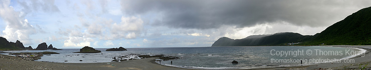 Orchid Island (蘭嶼), Taiwan -- Panoramic view of Beikesha ('Shell Beach') on the north-east coast.