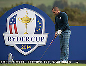 23.09.2014. Gleneagles, Auchterarder, Perthshire, Scotland.  The Ryder Cup.  Sergio Garcia (EUR) prepares to drive on the 18th during his practice round.