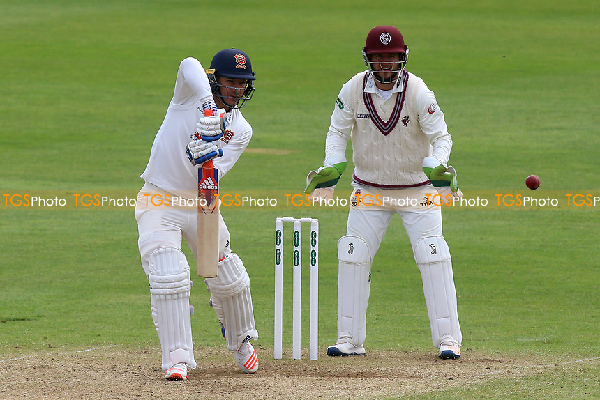 Neil Wagner in batting action for Essex as Steven Davies looks on from behind the stumps during Somerset CCC vs Essex CCC, Specsavers County Championship Division 1 Cricket at The Cooper Associates County Ground on 15th April 2017