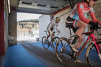 World Champion Thalita de Jong (NED/Rabo-Liv) catching race leader Christine Majerus (LUX/Boels-Dolmans)<br /> <br /> 2016 CX Superprestige Spa-Francorchamps (BEL)