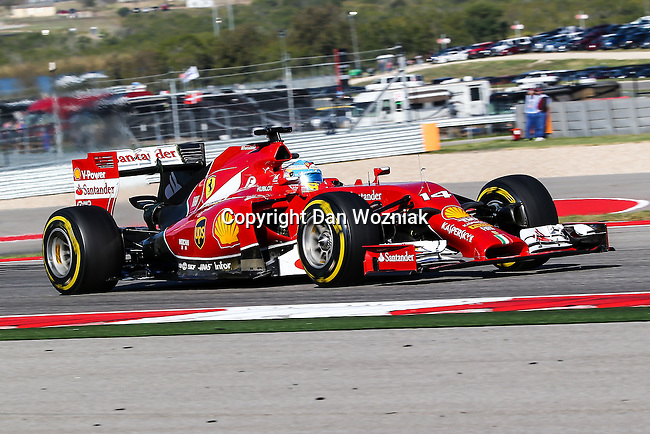 FERNANDO ALONSO (14) driver of the Scuderia Ferrari car in action during the last practice before the Formula 1 United States Grand Prix race at the Circuit of the Americas race track in Austin,Texas.