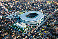 BNPS.co.uk (01202 558833)<br /> Pic: AuctionHouseLondon/BNPS<br /> <br /> Dwarfed by the new stadium - The simple house in White Hart lane.<br /> <br /> A humble terraced house that was the first official postal address of Tottenham Hotspur Football Club has emerged for sale for £450,000.<br /> <br /> White Cottage was lived in by Bobby Buckle, founder of Hotspur Football Club - which later became Tottenham.<br /> <br /> The address is the reason that Spurs previous stadium was known as White Hart Lane, despite not actually being located on the road itself.