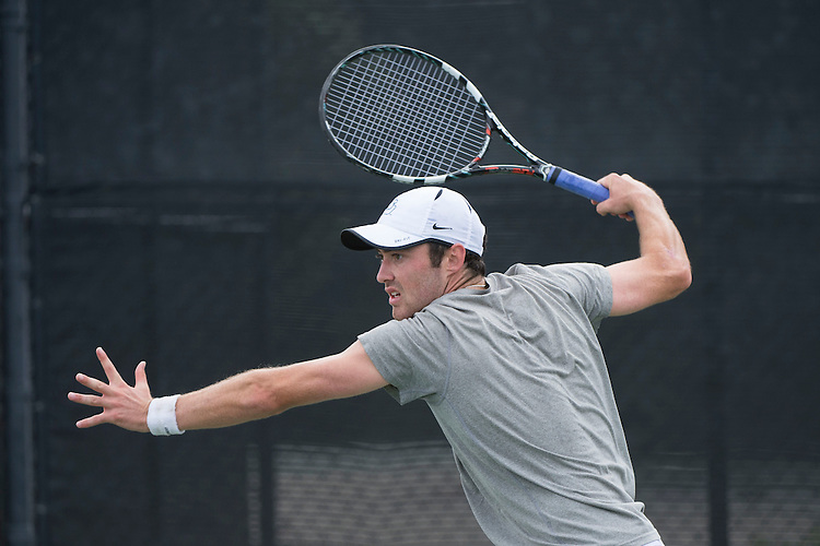 April 26, 2014; San Diego, CA, USA; San Diego Toreros player Ciaran Fitzgerald during the finals of the WCC Tennis Championships at Barnes Tennis Center.