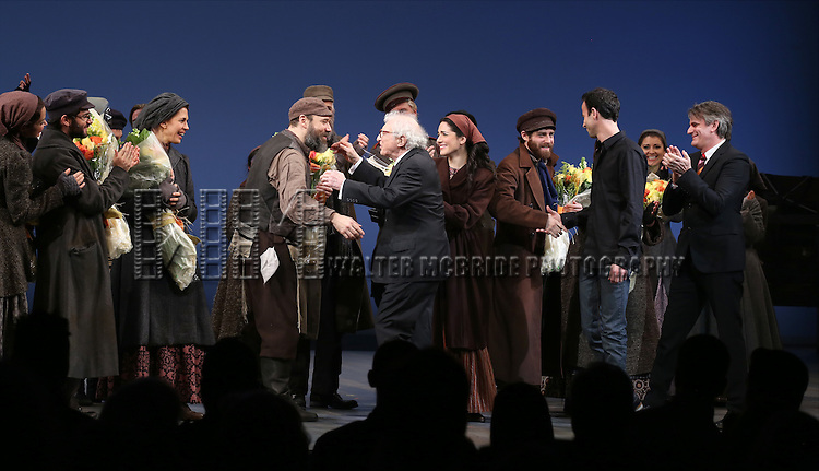 Alexandra Silber, Adam Kantor, Jessica Hecht, Danny Burstein, Sheldon Harnick, Hofesh Shechter and Bartlett Sher during the Broadway Opening Night Performance Curtain Call bows for 'Fiddler On The Roof'  at the Broadway Theatre on December 20, 2015 in New York City.