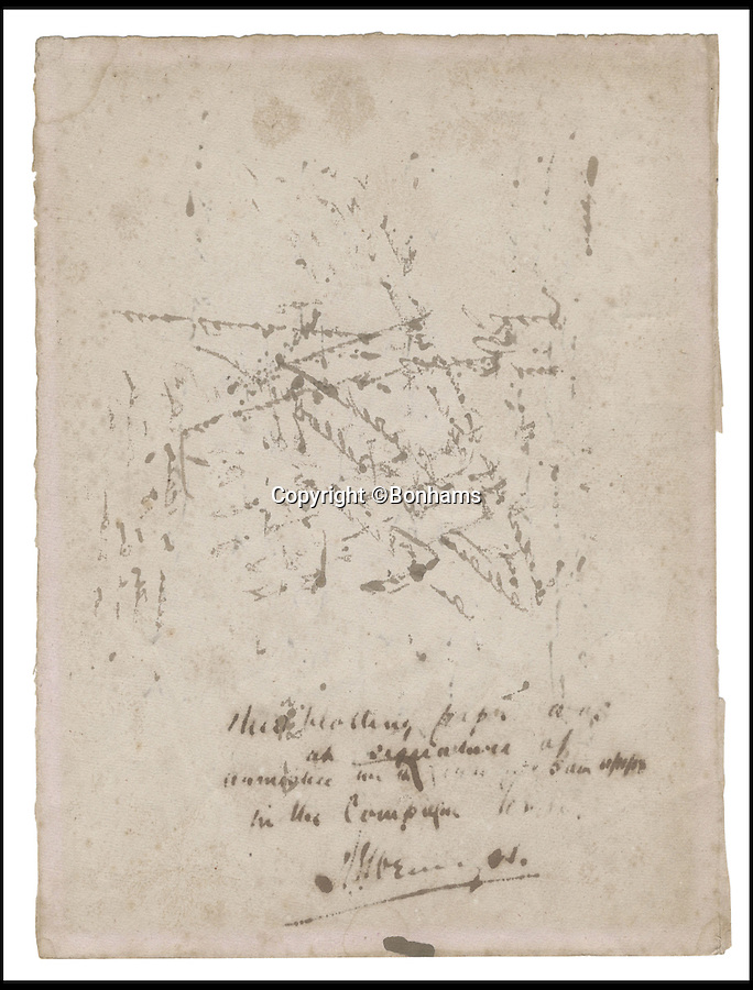 BNPs.co.uk (01202 558833)<br /> Pic: Bonhams/BNPS<br /> <br /> ***Please Use Full Byline***<br /> <br /> The historic blotted signatures of Marshall Foch and Admiral Wemyss.<br /> <br /> The sheet of blotting paper used on the armistice document that brought about the end of the First World War has emerged for sale for 30,000 pounds.<br /> <br /> The sheet carries the inky signatures of military leaders Admiral Sir Rosslyn Wemyss and Marshal Ferdinand Foch who had been sent to France in November 1918 to thrash out a peace deal with the Germans.<br /> <br /> Captain John Marriott, Admiral Wemyss' naval assistant during the negotiations, was acutely aware of the significance of the peace deal - and after the document had been signed the quick-thinking captain pocketed the scrap of paper used to blot the signatures.<br /> <br /> Capt Marriott's family is selling the paper, along with a letter written to his wife and a blow-by-blow account of the talks, to mark the centenary of the outbreak of fighting.<br /> <br /> Experts say they could fetch 30,000 pounds when they go under the hammer in a Bonhams auction on October 1.