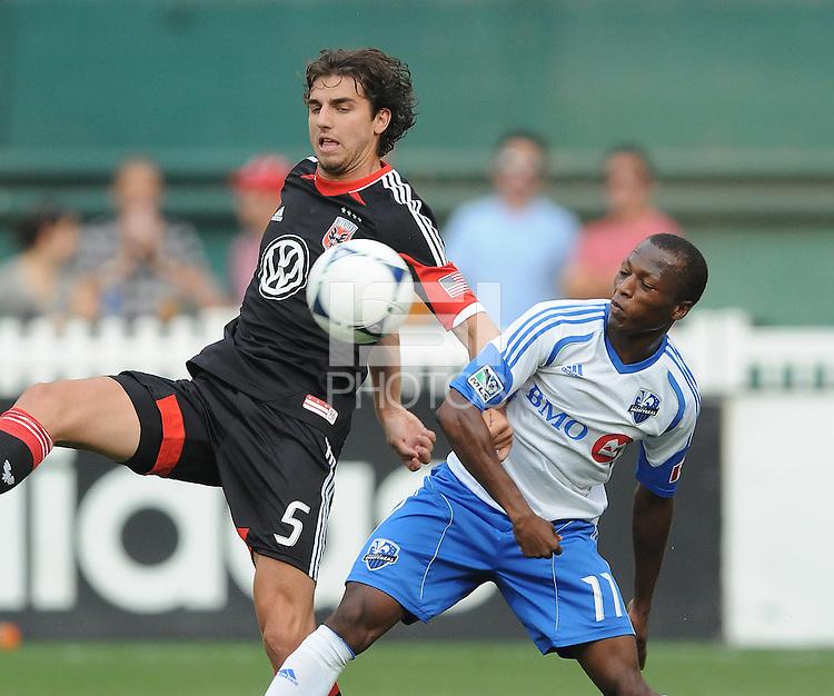 D.C. United  defender Dejan Jakovic (5) goes against Montreal Impact forward Sanna Nyassi (11) D.C. United defeated Montreal Impact 3-0 at RFK Stadium, Saturday June 30, 2012.
