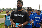 Tayyib Zaman, 22, a volunteer at the Al-Noor Academy in Piscataway, New Jersey with a group of students he coaches as the men's track and field events kicks off at the Islamic Games in South Brunswick, New Jersey on May 26, 2007.  Over 600 youths from five states competed in the event.