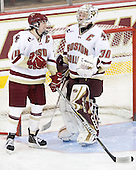 Katelyn Kurth (BC - 14), Molly Schaus (BC - 30) - The Boston College Eagles defeated the visiting Northeastern University Huskies 2-1 on Sunday, January 30, 2011, at Conte Forum in Chestnut Hill, Massachusetts.