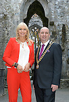 Pictured in the cloister at Muckross Abbey prior to  the National Tourism Forum in The Muckross Park Hotel, Killarney at the weekend were from left, Miriam O'Callaghan, Conference Chairman and Sean O'Driscoll, National President, SKAL. Over 200 delegates from all over Ireland attend the inaugural event which was addressed by national and international speakers.<br /> Photo: Don MacMonagle<br /> <br /> Repro free photo