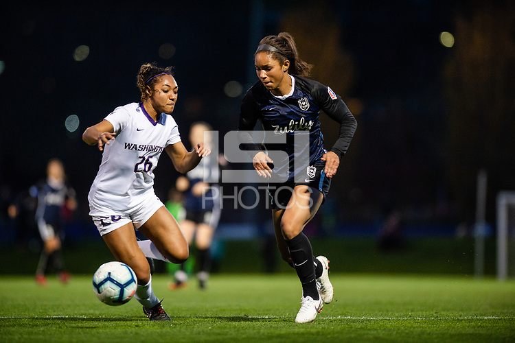Seattle, WA - Friday, April 5, 2019: Reign FC vs Washington Huskies Preseason at the Husky Soccer Stadium.