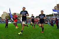 Zach Mercer, Jackson Willison and the rest of the Bath Rugby team run out onto the pitch. Heineken Champions Cup match, between Bath Rugby and Stade Toulousain on October 13, 2018 at the Recreation Ground in Bath, England. Photo by: Patrick Khachfe / Onside Images