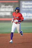Joel Booker (2) of the Winston-Salem Dash rounds the bases after hitting a solo home run during the 2018 Carolina League All-Star Classic at Five County Stadium on June 19, 2018 in Zebulon, North Carolina. The South All-Stars defeated the North All-Stars 7-6.  (Brian Westerholt/Four Seam Images)