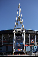 Pictured: Workers in abseiling gear install a banner outside the National Stadium of Wales (aka Principality Stadium) Thursday 25 May 2017<br />
