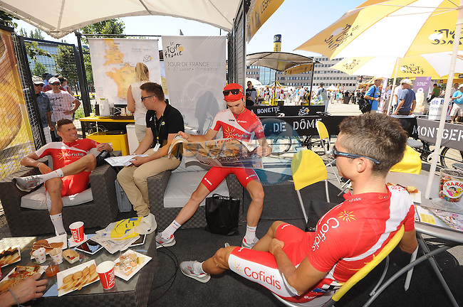 Cofidis team riders relax in the Tour Village before the start of Stage 12 of the 2014 Tour de France running 185.5km from Bourg-en-Bresse to Saint Etienne. 17th July 2014.<br /> Photo ASO/B.Bade/www.newsfile.ie