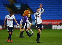 Bolton Wanderers' Josh Vela applauds the fans after the 1-1 draw against Fulham<br /> <br /> Photographer Leila Coker/CameraSport<br /> <br /> The EFL Sky Bet Championship - Bolton Wanderers v Fulham - Saturday 10th February 2018 - Macron Stadium - Bolton<br /> <br /> World Copyright &copy; 2018 CameraSport. All rights reserved. 43 Linden Ave. Countesthorpe. Leicester. England. LE8 5PG - Tel: +44 (0) 116 277 4147 - admin@camerasport.com - www.camerasport.com