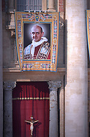 Portraits of   Pope Paul VI . Pope Francis presides over a canonization ceremony in St Peter's Square at the Vatican, on October 14, 2018. Pope Francis canonizes two of the most important and figures of the 20th-century Catholic Church, declaring Pope Paul VI and the martyred Salvadoran Archbishop Oscar Romero.