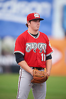 Carolina Mudcats pitcher Sean McLaughlin (11) during a game against the Frederick Keys on June 4, 2016 at Nymeo Field at Harry Grove Stadium in Frederick, Maryland.  Frederick defeated Carolina 5-4 in eleven innings.  (Mike Janes/Four Seam Images)