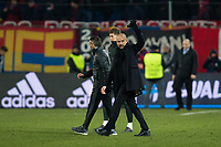 Manchester City manager Josep Guardiola applauds the fans at the final whistle <br /> <br /> Photographer Craig Mercer/CameraSport<br /> <br /> UEFA Champions League Round of 16 First Leg - Basel v Manchester City - Tuesday 13th February 2018 - St Jakob-Park - Basel<br />  <br /> World Copyright &copy; 2018 CameraSport. All rights reserved. 43 Linden Ave. Countesthorpe. Leicester. England. LE8 5PG - Tel: +44 (0) 116 277 4147 - admin@camerasport.com - www.camerasport.com