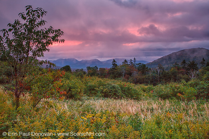 Sunrise and storm clouds along the Kancamagus Highway (route 112), which is one of New England's scenic byways located in the White Mountains, New Hampshire USA