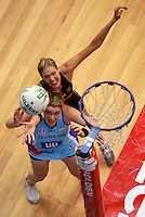 21.03.2010 Steel Te Huinga Reo Selby-Ricket and Fever's Catlin Bassett in action during the ANZ Champs netball match between the Steel and Fever at Stadium Southland in Invercargill. Mandatory Photo Credit ©Michael Bradley. ***FREE FOR EDITORIAL USE***