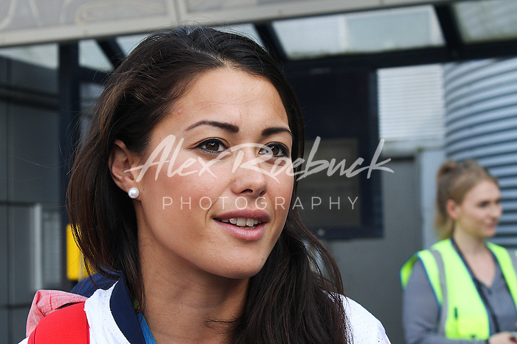 TUESDAY 23RD AUGUST 2016<br /> <br /> SAM QUEK OF TEAM GB WOMENS HOCKEY TEAM ARRIVES BACK AT MANCHESTER AIRPORT PROUDLY DISPLAYING HER GOLD MEDAL.