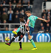 4th November 2017, St James Park, Newcastle upon Tyne, England; EPL Premier League football, Newcastle United Bournemouth; Christian Atsu of Newcastle United holds off a challenge from Simon Francis of AFC Bournemouth in the 0-1 loss