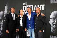 "LOS ANGELES - JUN 22:  Dr Dre, Jimmy Iovine, Richard Plepler, Allen Hughes at ""The Defiant Ones"" HBO Premiere Screening at the Paramount Theater on June 22, 2017 in Los Angeles, CA"