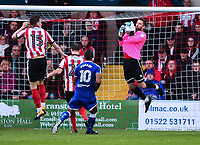 Lincoln City's Josh Vickers catches a high ball<br /> <br /> Photographer Andrew Vaughan/CameraSport<br /> <br /> The EFL Sky Bet League Two - Lincoln City v Chesterfield - Saturday 7th October 2017 - Sincil Bank - Lincoln<br /> <br /> World Copyright &copy; 2017 CameraSport. All rights reserved. 43 Linden Ave. Countesthorpe. Leicester. England. LE8 5PG - Tel: +44 (0) 116 277 4147 - admin@camerasport.com - www.camerasport.com
