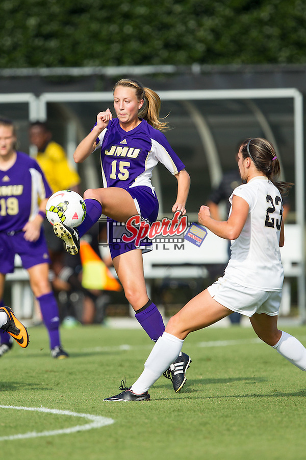 Rachel Ivey (15) of the James Madison Dukes during first half action against the Wake Forest Demon Deacons at Spry Soccer Stadium on August 29, 2014 in Winston-Salem, North Carolina.  The Dukes defeated the Demon Deacons 2-1.   (Brian Westerholt/Sports On Film)