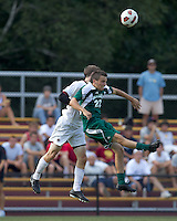 Boston College defender Ryan Dunn (3) and George Mason University midfielder/defender Brennan Zizi (22) battle for head ball. Boston College defeated George Mason University, 3-2, at Newton Soccer Field, August 26, 2011.