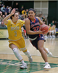 SPEARFISH, SD: DECEMBER 30:  Tuileisu Anderson #32 of CSU Pueblo drives on Julia Seamans #3 of Black Hills State during their game Saturday evening at the Donald E. Young Center in Spearfish, S.D.   (Photo by Dick Carlson/Inertia
