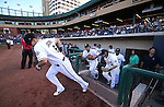 The Reno Aces take the field at the start of a minor league baseball game in Reno, Nev., on Sunday, Aug. 25, 2013. The Salt Lake Bees won 9-1. <br /> Photo by Cathleen Allison