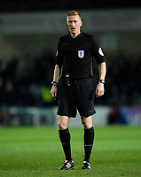 Referee Scott Oldham<br /> <br /> Photographer Chris Vaughan/CameraSport<br /> <br /> The EFL Sky Bet League Two - Lincoln City v Yeovil Town - Friday 8th March 2019 - Sincil Bank - Lincoln<br /> <br /> World Copyright © 2019 CameraSport. All rights reserved. 43 Linden Ave. Countesthorpe. Leicester. England. LE8 5PG - Tel: +44 (0) 116 277 4147 - admin@camerasport.com - www.camerasport.com