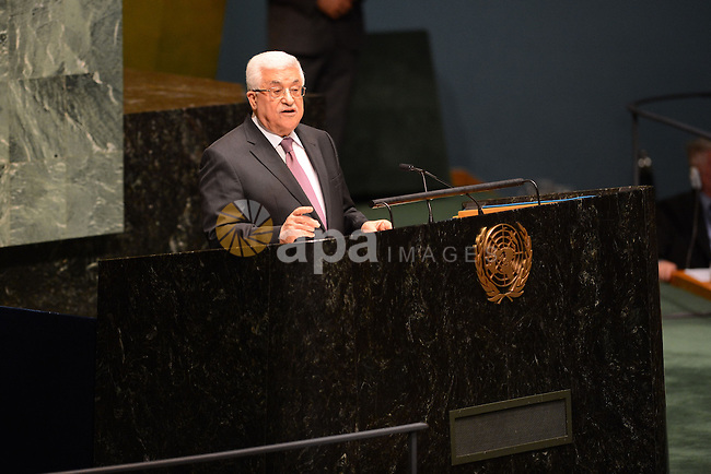 "Palestinian President Mahmoud Abbas addresses the United Nations General Assembly at UN Headquarters, in New York, November 29, 2012. Abbas appealed to the U.N. General Assembly to recognize Palestinian statehood by supporting a resolution to upgrade the U.N. observer status of the Palestinian Authority from ""entity"" to ""non-member state."". Photo by Thaer Ganaim"
