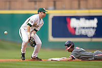 Joey Hainsfurther #1 of the Baylor Bears can't come up with the ball as it hits off of Chase Dempsay #9 of the Houston Cougar  in the 2009 Houston College Classic at Minute Maid Park February 27, 2009 in Houston, TX.  The Bears defeated the Cougars 3-2. (Photo by Brian Westerholt / Four Seam Images)