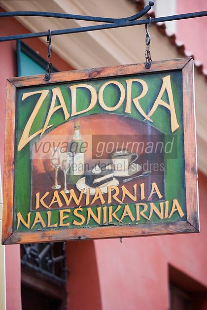 Europe/Pologne/Lublin: détai enseigne auberge Zadora de la vieille ville
