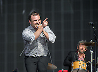 Frontman Samuel T Herring of Future Islands during British Summertime Music Festival at Hyde Park, London, England on 18 June 2015. Photo by Andy Rowland.