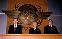 Montreal (Qc) CANADA - File Photo - Dec 5th 1996 -<br /> Jean Chretien (L), ICAO President (L) and<br /> Lucien Bouchard,  Leader Parti Quebecois (from Jan 29, 1996 to March 2, 2001). seen in a May 1996 file photo at ICAO (OACI) New headquarter opening in Montreal.<br /> <br /> After the Yes side lost the 1995 referendum, Parizeau resigned as Quebec premier. Bouchard resigned his seat in Parliament in 1996, and became the leader of the Parti Qu&Egrave;b&Egrave;cois and premier of Quebec.<br /> <br /> On the matter of sovereignty, while in office, he stated that no new referendum would be held, at least for the time being. A main concern of the Bouchard government, considered part of the necessary conditions gagnantes (&quot;winning conditions&quot; for the feasibility of a new referendum on sovereignty), was economic recovery through the achievement of &quot;zero deficit&quot;. Long-term Keynesian policies resulting from the &quot;Quebec model&quot;, developed by both PQ governments in the past and the previous Liberal government had left a substantial deficit in the provincial budget.<br /> <br /> Bouchard retired from politics in 2001, and was replaced as Quebec premier by Bernard Landry.