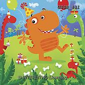 Sarah, CHILDREN BOOKS, BIRTHDAY, GEBURTSTAG, CUMPLEAÑOS, paintings+++++DinoParty-14-A,USSB431,#BI#, EVERYDAY ,locomotive