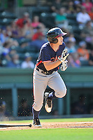 Second baseman Luke Dykstra (4) of the Rome Braves runs toward first in a game against the Greenville Drive on Sunday, July 31, 2016, at Fluor Field at the West End in Greenville, South Carolina. Rome won, 6-3. (Tom Priddy/Four Seam Images)