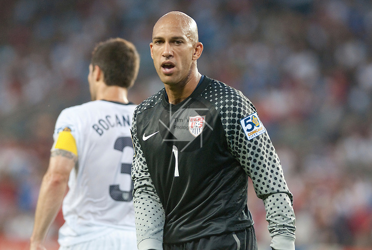 14 June 2011                          USA goalkeeper Tim Howard (1) turns back towards the goal after talking with USA defender and team captain Carlos Bocanegra (3) in the first half. The USA Men's National Soccer Team defeated the Guadeloupe Men's National Soccer Team 1-0 in the first qualifying round of the CONCACAF Gold Cup game at Livestrong Sporting Park in Kansas City, KS on June 14, 2011.